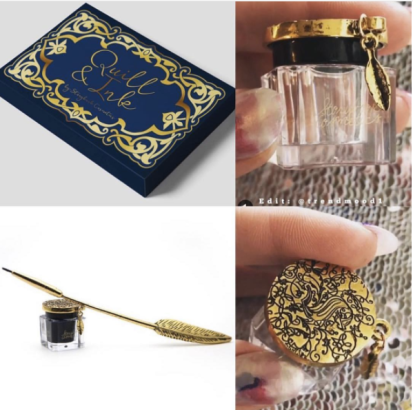 Gold feather quill liquid eyeliner brush with metallic ink pot with black eyeliner and stand with tin case. More views of the item on Instagram